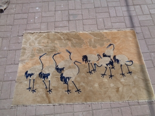 """Chinese rug with cranes,good colors design and condition,beautiful rug without any repair or work done.Size 5'2""""*3ft.E.mail for more info and pics."""