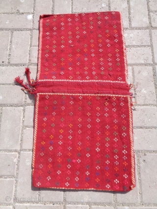 "Flatwoven Qashqai Khorjin,with all good colors ,original kilim backing,good condition and design.Size 2'9""*1'5"".E.mail for more info and pics."