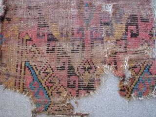 Konya rug fragment from second half of 19th century size: 107cm x 74cm - 3.51ft x 2.42ft. To visit my other collections, https://www.etsy.com/your/shops/KILIMSE