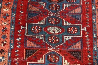 (74) E. Anatolian Kurdish rug, antique and then some...134 x 210 cm. unrepaired, unrestored, thick pile with some normal corrosion and tiny areas of missing knots. no moth dmg, no mildew but  ...
