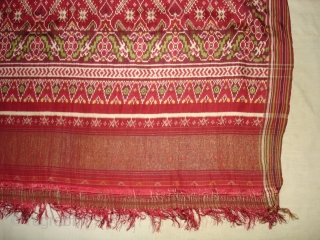 Patola Sari Silk Double ikat.Probably Patan Gujarat.India.this Patola sari has the type of geometric,non figurative pattern particularly favoured by the ismaili Muslim merchant community of the Vohras and its called Vohra-Gaji-Bhat.(Vohra Type  ...