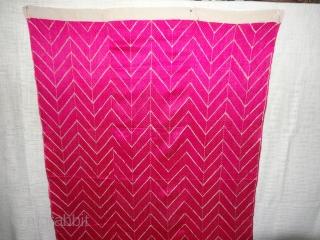 Phulkari From West(Pakistan)Punjab.India.known As Wedding Thirma(Pink)Bagh. Showing the Rare Influence of Lahariya Weave Design of Garden Embroidery of Punjab. C.1900 (DSC07204).