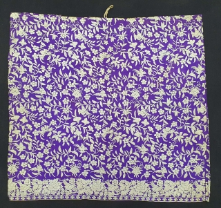 Parsi Jhabla or Jhablo (Blouse) From Surat Gujarat India. The 'four over, under one satin weave is embroidered with Brids and  Flowers Jaal design.This kind of Jhabla's were embroidered by Chinese  ...