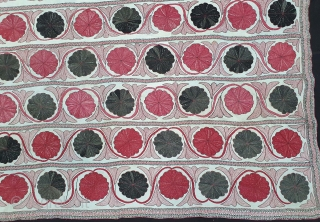 Very Fine Kantha Quilted and embroidered cotton kantha Probably From East Bengal(Bangladesh) region, India. C.1850-1875. Its size is 122cmX198cm (20210113_144932).