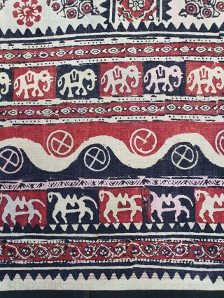Kalamkari Block Print Canopy, Probably from Kutch Gujarat, India. India,C.1875.Mordant-And Resist-Dyed, Hand Spun Thick Khadi-Cotton, Its size is 150cmX163cm(20210113_145409).
