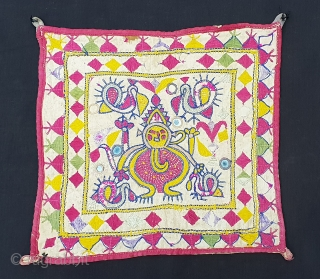 Ganesh Sthapana Wall Hanging From Saurashtra Gujarat.India.C.1900.Probably from Kathi Darbar Group.Its size is 27cmx28cm(20190119_161242).