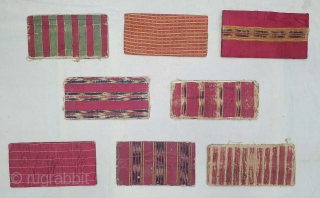 Ceremonial Book Covers Collection, Showing Different Type of Mashru weaving in the Different way of style. silk warps, cotton wefts, warp ikat, satin weave Mashru from Kutch, Gujarat. India. India. C.1850.Aprox Size  ...