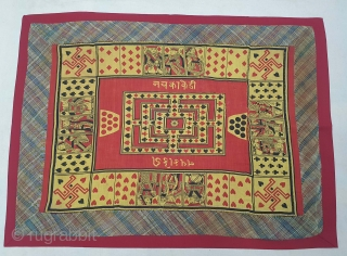Playing Card Game On the Manchester Print, Used as Chakla (Wall Hanging) From Manchester England made for Indian Market. India. Roller Printed on Cotton. C.1900. Its size is 52cmX70cm (20210123_165024).