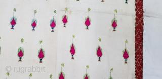 Phulkari Swatti Shawl From the Swat region of Pakistan. India.Silk embroidery on cotton,Circa Mid-20th century.Its size is 105cmX208cm(170903).