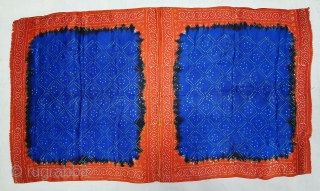 Ceremonial Tie and Dye Rumal, Tie and Dye Work on the Gajji-Silk From Kutch Region of Gujarat, India. c.1900. Its size is 58cmX102cm. This were Traditionally used mainly by Muslim Khatri community  ...