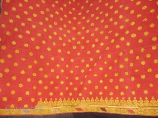 Double Sided Embroidery(Cotton on cotton)Woman's Odhani From Nagour District Of Rajasthan.India.It's size is 142cmX240cm.Condition is Good(DSC02034 New).