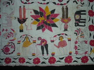 Kalighat Kantha ,cotton Plain weave with cotton embroidered Kantha Probably From North Parganas  District,West Bengal(India)region.India.Showing the Famous drawings of Kalighat Paintings.C.1900.Its size is 73cmX82cm(DSC00331 New).