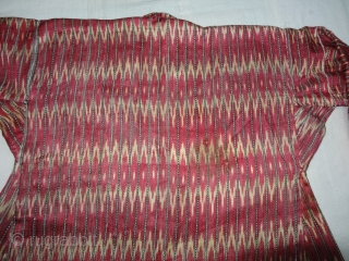 Ikat Mashru costume From Deccan, India. This Mashru weaving done in Deccan,Probably Hyderabad South India, Its Silk And Cotton Ikat with Stripes.Its size is L-62cm,W55cm,S-14cmX48cm(DSC04465 New).