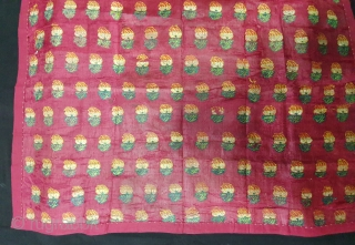 Amru Fregamnet From Deccan, India. This Amru weaving done in Deccan, Probably Hyderabad South India,Dated 1835. Its Silk with floral butis. Amru is a fabric made of silk. Its size is 65cmX80cm(20200127_174241).