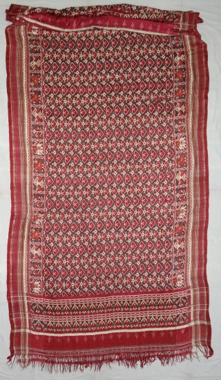 Patola Dupatta,Silk Double Ikat. Probably Patan Gujarat.India.This Patola Uses one of the most Rarely found designs.That of the Pipal leaf,known as Pan Bhat. This Rarely repeating pattern is combined with borders of  ...