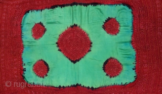 Ceremonial Tie and Dye Odhani known as Kumbhi,Tie and Dye Work on the Gajji-Silk From Kutch Region of Gujarat, India. c.1900. Its size is 155cmX160cm. This were Traditionally used mainly by Muslim  ...