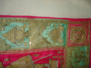 Mochi Bharat Embroidery of Gold and Silver zari work.Its Jain Ashatmangal and 24 Sapanas (Dreams)From Gujarat India.Its size is 90cmX157cm.Date is also Mention is the Piece.Very Rare Piece of Textile(DSC02538 New).