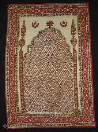 Kalamkari Block Print of Jainamaz style,Probably from khandesh(Burhanpur-central India)India,C.1900.Hand spurn khadi cotton,Natural Dyes.Its size is 75cmX110cm(DSC00394 New).