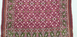 Patola Sari Silk Double ikat.Probably Patan Gujarat. India. this Patola sari has the type of geometric,non figurative pattern particularly favored by the ismaili Muslim merchant community of the Vohras.And its called Vohra-Gaji-Bhat.(Vohra  ...