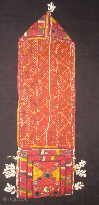 Ceremonial Banjara Chanchi Bag From Karnataka,South India.Embroidered and Quilted on cotton.Its size is 19cmX60cm(DSC00639New).