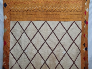 Phulkari From West(Pakistan)Punjab. India.Known as Chand Bagh.C.1900. Floss silk on hand spun cotton ground cloth(DSC04729).