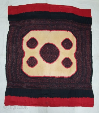 Ceremonial Tie and Dye Odhani known as Kumbhi,Tie and Dye Work on the Gajji-Silk From Kutch Region of Gujarat, India. c.1900. Its size is 150cmX180cm. This were Traditionally used mainly by Muslim  ...
