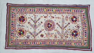 Khil Wall Hanging From Chotila Taluka of Surendranagar District Of Gujarat.India.Used by the Rabari shepherd Community of Chotila Taluka.C.1900. Its size is 88cmX164cm(20200217_153842).