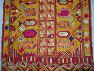 Phulkari From East(Punjab) India.Known as Darshan Dwar.C.1900.Handspun cotton plain weave (khaddar) with silk and cotton embroidery,Showing the Folk Culture and Art of Punjab. Its size is 11cmX205cm(DSC03963).