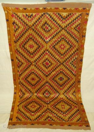 Phulkari From West(Pakistan) Punjab.India.known As Panchrangi Bagh very Rare influence of Shisha Design,Very rare kind of Bagh(DSC01490 New).