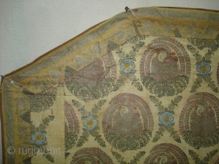 Kalamkari and Block Print(Cotton)Hanging cover for the Steps of a Shine From Deccan South India.Stencilled and Painted with silver leaf.Its size is 98cmX152cm(DSC02709 New).