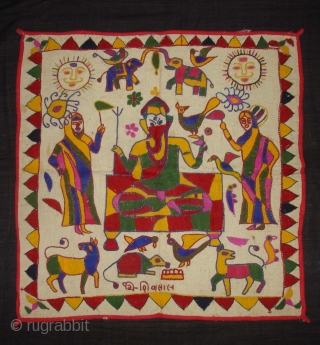 Ganesh Sthapana Wall Hanging From Saurashtra Gujarat.India.Probably from Kathi Darbar Group.Its size is 55cmx55cm(DSC02745 New).