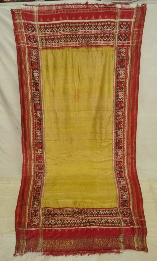 Patola Sari,Silk Double Ikat.Probably Patan Gujarat India. This Patola Uses one of the Rare designs.known as Paneter Yellow Patola. Its size is 128cmX285cm.Please Ask for more Detail Pictures(DSC07403 New).