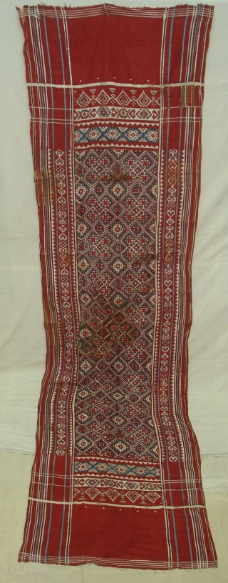 Patola Imitation(cotton)Block Print and Kalamkar,Probably Made to order in India or might be Indonesia.Its size is 70cmX275cm(DSC03023 New).