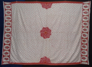 Abochhini Wedding Shawl from Sindh Region of Undivided India. India Silk Embroidery on the Cotton, c.1900.Its size is 146cmX210cm(DSC02382).