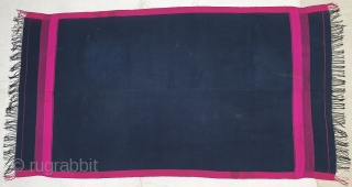 Waziri Shawl (Indigo Blue Colour With Yellow Stripe Check Design) for Man From Waziristan, Pakistan. India.C.1900.Natural Dye with Hand Woven Cotton and silk ends,with silk end borders.Its size is 129cmX230cm(20200229_141204).