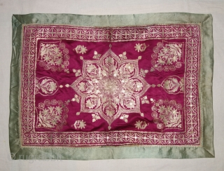 Mughal Aari Zari (Real) Embroidery Wall Hanging With floral Design From the Sidhpur Patan Gujarat, India.Real Zari Embroidery on the Gajji-Silk.C.1850.Its size is 48cmX68cm(DSC07779).