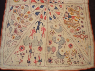 Kantha Quilted and embroidered cotton Kantha Probably From Faridpur District of East Bengal(Bangladesh)region.India.Its size is 100cmX146cm(DSC01005 New).