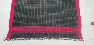 Waziri Shawl (Indigo Blue Colour With Yellow Stripe Design) for Man From Waziristan, Pakistan. India.C.1900.Natural Dye with Hand Woven Cotton and silk ends,with silk end borders.Its size is 116cmX214cm. Very nice in  ...