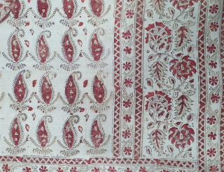 Kalamkari from South India. India. Made for Export Market, Printed on Khadi Thick cotton with Kery Design, Late 19th Early 20th Century. Its size is 142cmX180cm (20200304_143159).