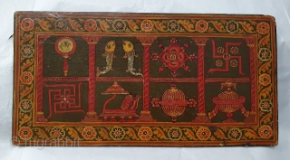Sutra Book Cover An Jain KalpSutra Subject,Painted on Wooden, Showing When Mahavir was born his mother Trishala, During her pregnancy,Mother was believed to have had a number of auspicious dreams, all signifying the coming of  ...