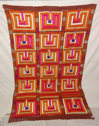 Phulkari From East(Punjab) India.Known as Bhul Bhalaya(Maze) Game. Handspun cotton plain weave (khaddar) with silk and cotton embroidery,Showing the Folk Game of maze Punjab. Its size is 140cmX230cm(DSC07820).