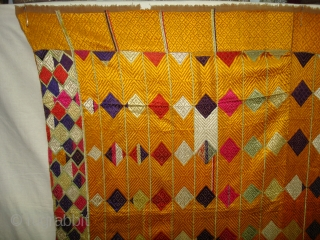 Phulkari From West(Pakistan)Punjab.India.known As Vari-Da-Bagh,Very Rare influence of Multi-colour Side Ghunghat with Multi colour squares in the Middle(DSC00825 New).