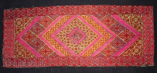 Pillow-Cover,Swat Valley(Pakistan).Cotton embroidered with floss silk.with woollen Braiding and Tassels.Its size is 36cm x 88cm(DSC02770 New).