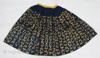 Ghaghra(Skirt)Indigo-Dyed Cotton Embroidered in floss silk and embellished with mirrors,From North-Western Region of India. India.C.1900.Its size is L-92cm Around is 365cm(20190312_144502).
