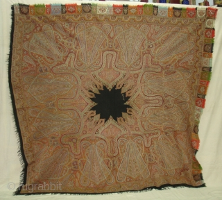 Kashmir Embroidered Rumal on the Pashmina,From Kashmir India.Highly Sikh Period C.1850.With Signature of the owner.Its size is 175cmX188cm.(DSC01034 New).