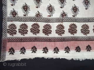 Ceremonial Odhani Block-Printed,Mordant-Dyed Cotton,From Sanganer Rajasthan, India.Its size is 100cmX172cm(DSC05234).
