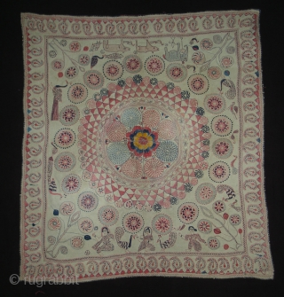 Kantha Quilted and embroidered cotton Kantha Probably From Jessore District of East Bengal(Bangladesh)region.India.Its size is 72cmX80cm(DSC01760 New).