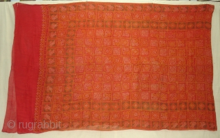 Gharcholu Sari Tie and Dye(Natural Colours)Cotton,From Jamnagar,Gujarat India.Its size is 134cmX424cm(DSC01833 New).