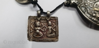 Antique Indian Silver Pendant necklace of Hindu God Figure, From Kutch Gujarat India.22 different kind of Pendant.C.1900(163726).