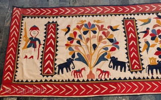 Wall Hanging(Tent Decoration) Appliqueworkfrom the Kathi Darbar Community of Saurashtra Gujarat. India.C.1900.Cotton with cotton Appliquework.Its size is 130cmX450cm(20200408_154430).